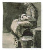 Woman Peeling Potatoes, 1882 Fleece Blanket