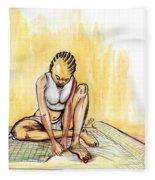 Woman Plaiting Mats In Rwanda Fleece Blanket