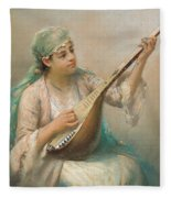 Woman Playing A String Instrument Fleece Blanket