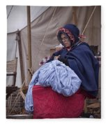 Woman Reenactor Sewing In A Civil War Camp Fleece Blanket