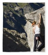 Woman Rock Climbing, India Fleece Blanket