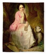 Woman Seated In A Forest Glade Fleece Blanket
