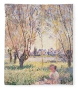 Woman Seated Under The Willows Fleece Blanket