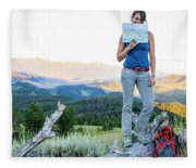 Woman Shows Off Her Mountain Drawing Fleece Blanket