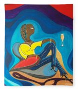 Woman Sitting In Chair Surrounded By Female Spirits Fleece Blanket