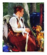 Woman Spinning Yarn At Flea Market Fleece Blanket