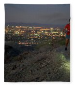 Woman Trail Running In South Mountain Fleece Blanket