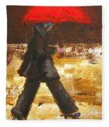 Woman Under A Red Umbrella Fleece Blanket