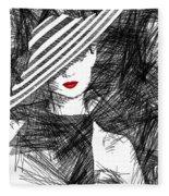 Woman With A Hat Fleece Blanket