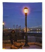 Woman With Her Dogs Fleece Blanket
