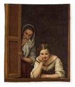 Women From Galicia At The Window Fleece Blanket