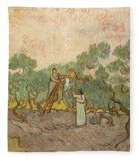 Women Picking Olives Fleece Blanket