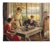 Women Taking Tea Fleece Blanket