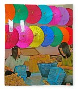 Women Working Together At Borsang Umbrella And Paper Factory In Chiang Mai-thailand Fleece Blanket