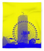 Wonderwheel In Blue And Yellow Fleece Blanket