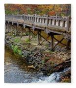 Wood Bridge And Autumn Color Fleece Blanket