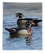 Wood Duck Drake Pair Fleece Blanket