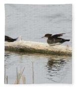 Wood Duck Females On A Log  Fleece Blanket