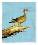 Wood Duck Hen In Tree Fleece Blanket