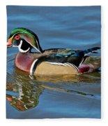 Wood Duck Male Calling Fleece Blanket