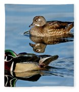 Wood Duck Pair Swimming Fleece Blanket