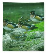 Wood Ducks Hanging Out Fleece Blanket