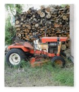 Wood Pile And Lawn Tractor Fleece Blanket
