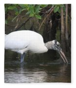 Wood Stork In The Swamp Fleece Blanket