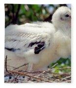 Wood Stork Nestling Fleece Blanket