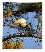 Wood Stork Perch Fleece Blanket