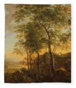 Wooded Hillside With A Vista Fleece Blanket