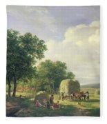 Wooded Landscape With Haymakers Fleece Blanket