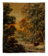 Wooded Landscape With Herdsman And Cattle Fleece Blanket