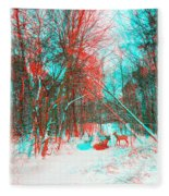 Wooded Path - Use Red And Cyan Filtered 3d Glasses Fleece Blanket