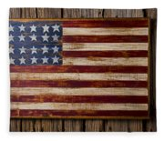 Wooden American Flag On Wood Wall Fleece Blanket