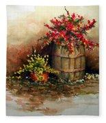 Wooden Barrel With Flowers Fleece Blanket