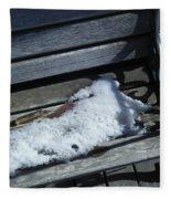 Wooden Bench With Snow 1 Fleece Blanket