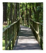 Wooden Boardwalk Through The Forest Fleece Blanket
