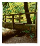 Wooden Bridge In The Hoh Rainforest Fleece Blanket