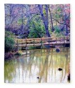 Wooden Bridge Over Pond Fleece Blanket
