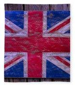 Wooden British Flag Fleece Blanket