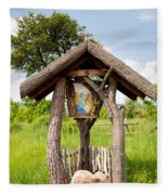 wooden shrine of holy Mother in Poland  Fleece Blanket