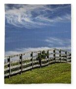 Wooden Farm Fence On Crest Of A Hill Fleece Blanket