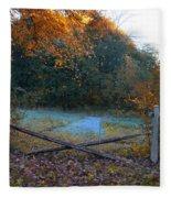 Wooden Fence In Autumn Fleece Blanket