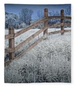 Wooden Fence Of A Friesian Horse Pasture On Windmill Island Fleece Blanket