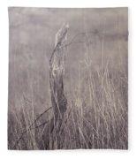 Wooden Fence Post On A Foggy Winter Day Fleece Blanket