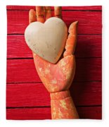 Wooden Hand With White Heart Fleece Blanket