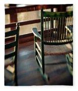 Wooden Rocking Chairs On A Deck Fleece Blanket