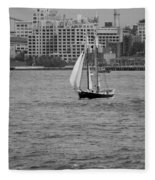 Wooden Ship On The Water Fleece Blanket