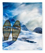 Wooden Snowshoes  Fleece Blanket